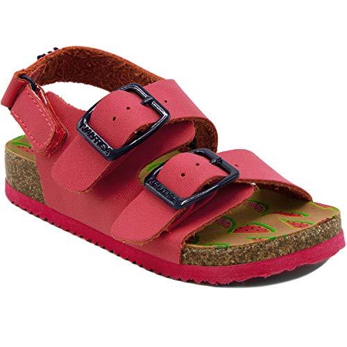 (Nautica Kids Grant Toddler Open Toe Sandal 2 Buckle Straps Comfort Slide Outdoor Back Strap Casual Sandals -Pink-9 )