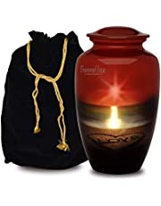 Adult Cremation URNS for Ashes- Cardinal Couple Birds Cremation Urns for Human Ashes - Completely Handcrafted with Volume 200 Cu. in. with Velvet Protection Bag. (Ocean Love)