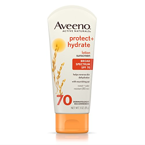 Aveeno Protect + Hydrate Lotion Sunscreen with Active Naturals Oat and Broad Spectrum SPF 70, Sweat and Water Resistant Sun Protection, 3 oz Active Sunscreen