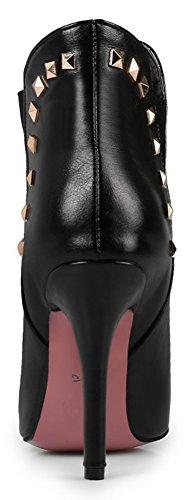 Idifu Kvinna Mode Nit Spetsig Tå Boots Med Stilettklackar Svart