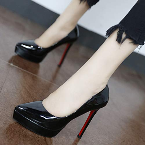 YMFIE Los Zapatos de tacón Alto Atractivos del Temperamento de la Moda de la Charol Europea Calzan los Zapatos del Partido de los Zapatos A