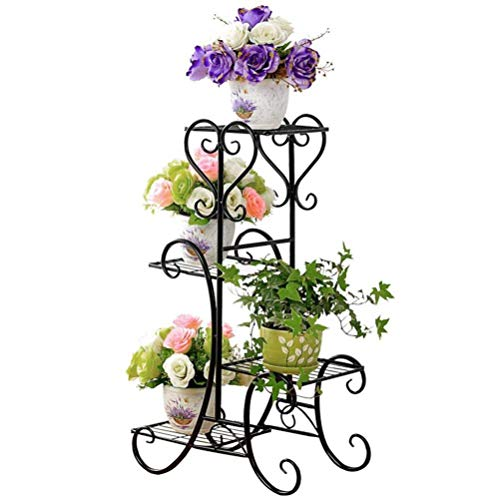 MegaVava 4 Tier Metal Shelves Flower Pot Plant Stand Display Indoor Outdoor Garden Patio Shelf Step ()