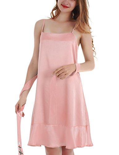 Yulee Mujer Sat¨¦n Chemise bordado camis¨®n Ruffle Hem Pijamas Pink