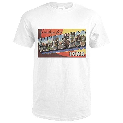 Lantern Press Waterloo, Iowa - Large Letter Scenes (Premium White T-Shirt - Premium Waterloo
