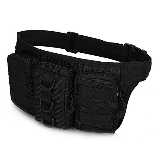 A-szcxtop Multifunktions Tactical Toolkit mit 3verbunden Taschen Taille Pack für Outdoor Sports, Laufen, Wandern, Klettern, Camping und CS schwarz