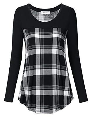 Liamluna Women's Long Sleeve Color Block Plaid T Shirt Casual Blouse