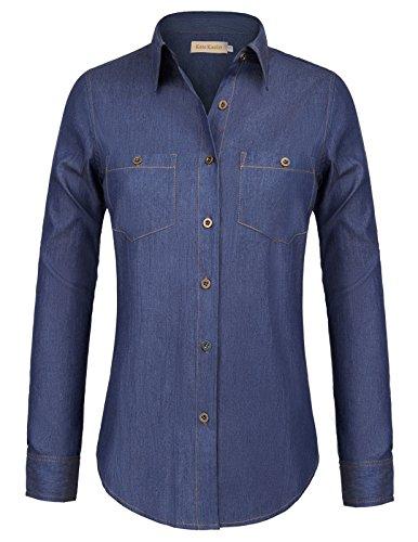 Kate Kasin Long Sleeve Button Down Classic Denim Shirt For Women S-XXL KK835