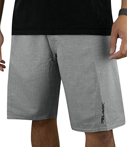 (Pelagic Men's Sharkskin Pro Fishing Shorts | Button Zip Fly | Belt Loops | Tool Pocket Heather Grey)
