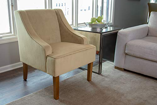 HomePop Velvet Swoop Arm Accent Chair, Tan