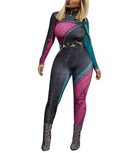 Ophestin Womens Turtleneck Long Sleeve Rhinestone Multicolor Patchwork Jumpsuit Romper Clubwear Size L