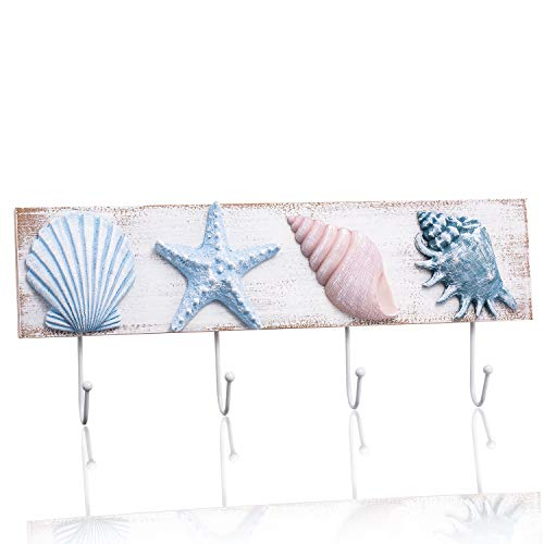 - Tide and Tales Beach House Decor Coastal Wall Hooks Towel Rack for Bathroom, Bedroom or Kitchen. 4 Metal Hooks Functional Ocean Theme Starfish and Seashell Decor. Tropical Beach Decorations for Home