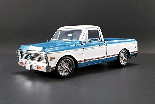 1971 Chevy C10 Custom Pickup Truck, Blue with White - Acme 1807209 - 1/18 Scale Diecast Model Toy Car