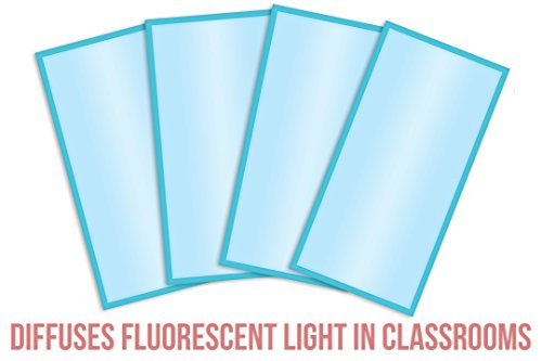 Fluorescent Light Covers Cozy Shades - Softening Light Filter, Light Diffuser for Game Room, Classroom, Office, Kids Bedrooms, or Hospital Room 48 x 24 inches - Set of 4 - Tranquil Sky Blue by Posh Peanut (Image #2)