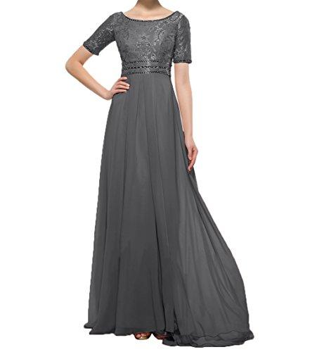 2018 Brautmutterkleider Charmant mit Spitze Abendkleider Promkleider Kurzarm Damen Grau Hundkragen Partykleider Neu qwXr5SX