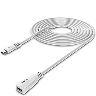 TUSITA Micro USB Power Extension Cable (20ft 6M) - Male to Female Extender Cord for Blink XT2 Outdoor Indoor Home,Ring Stick Up Solar Panel,Arlo Pro - Security Camera Accessories (20ft-White)