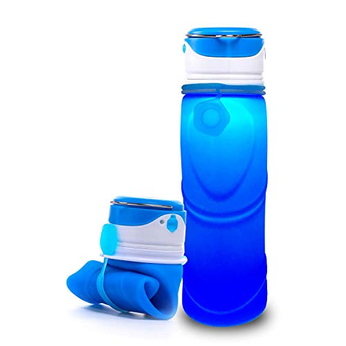 DtBold 750mL Collapsible Water Bottle Foldable Silicone Sport Kettle BPA Free Super Light weight with Leak Proof and USB Rechargeable LED Light Portable for Camping, Hiking, Jogging, and School (BLUE)
