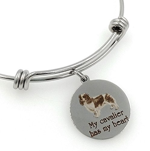 My Cavalier King Charles Spaniel Has My Heart Engraved Expandable Bangle -