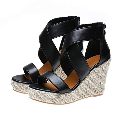 Platform Wedge Sandals for Women,Classic Espadrille Open Toe Criss Cross Roman Ankle Strap Shoes (US:8.5, Black) -