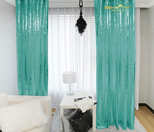Photography Backdrops Sequin Curtains 2 Panels 2ftx7ft Sequin Backdrop Teal Glitter Backdrop for Pictures/Photographers/Baby Shower M0427 (Glitter And Teal Gold)