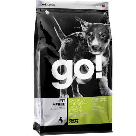 Petcurean Go Fit + Free Puppy Food Chicken Turkey + Trout (12 lb)