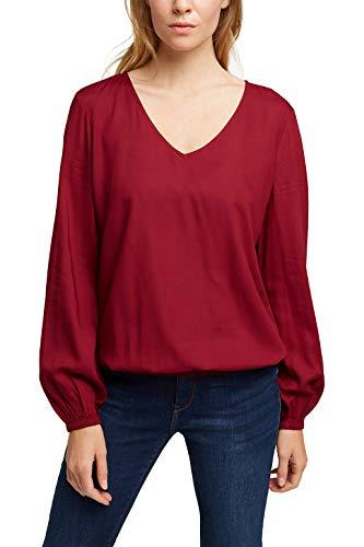 ESPRIT Damen 100EE1F307 Bluse, 600/BORDEAUX RED, 32