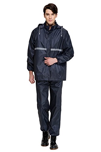 Aircee Waterproof Raincoat Outdoor Hooded Rain Jacket Pant and Jacket Set Adults (Extra Large, Black)