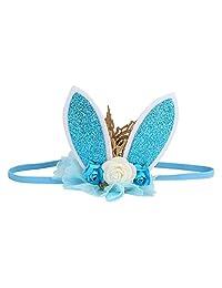 Idalinya Baby Headband Cute Rabbit Ears Hair Ribbon For Girls Hats Kids Hair Accessories(blue)