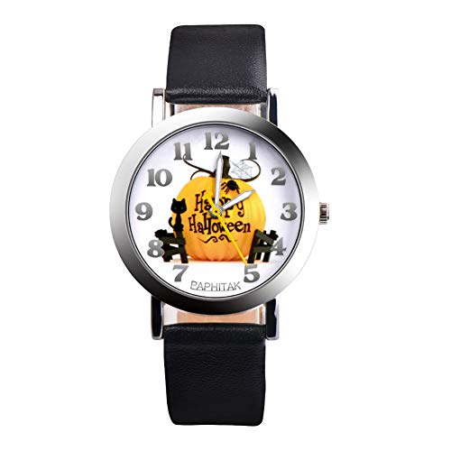 CHoppyWAVE Pumpkin Wristwatch Halloween 4Pc Faux Leather Analog Numerals Display Dail Kids Quartz - Black ()