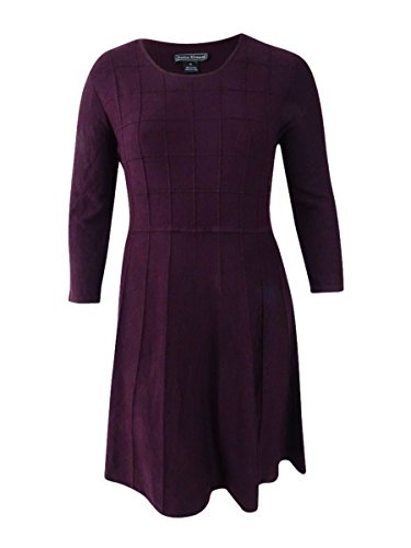 Jessica Howard Womens Scoop Neck 3/4 Sleeves Sweaterdress Purple XL