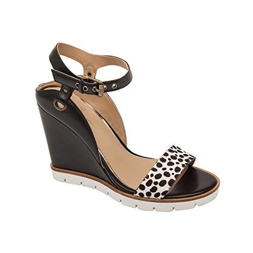 Ella | Modern Luxe Leather High Wedge Sport Sandal White/Black Polk Dot Hair Calf/Leather 7M