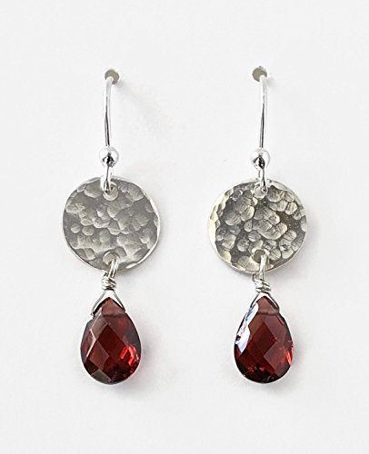 (Garnet Earrings Sterling Silver Hammered Disc Drop Dangle Artisan Boho Gemstone Jewelry)