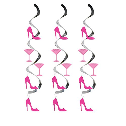 Creative Converting 30-Count Dizzy Danglers Hanging Party Décor, Martini Glass and High Heels