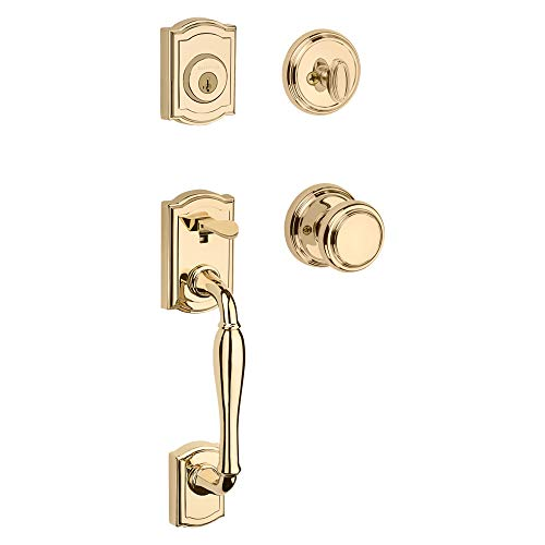 Baldwin Wesley Single Cylinder Front Door Handleset Featuring SmartKey Security in Polished Brass, Prestige Series with Traditional Door Hardware and Alcott Knob ()