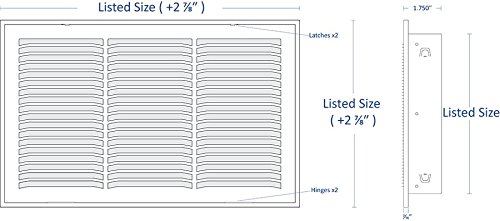 14'' X 20 Steel Return Air Filter Grille for 1'' Filter - Fixed Hinged - ceiling Recommended - HVAC DUCT COVER - Flat Stamped Face - White [Outer Dimensions: 16.5''w X 22.5''h] by HVAC Premium (Image #1)