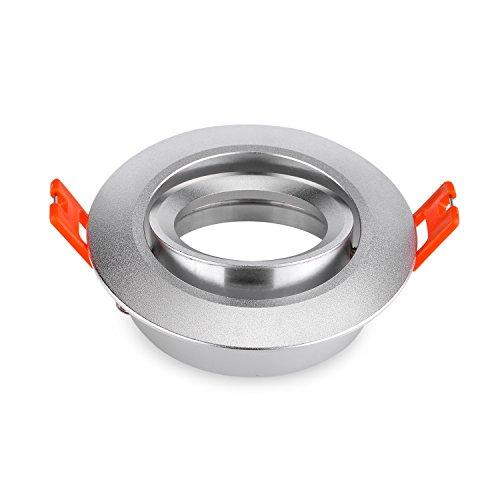 Pack of 2 GU10 MR16 Spotlights Trim Rings GU10 MR16 Light Holders Fixtures Fittings Fittings Silver Aluminium