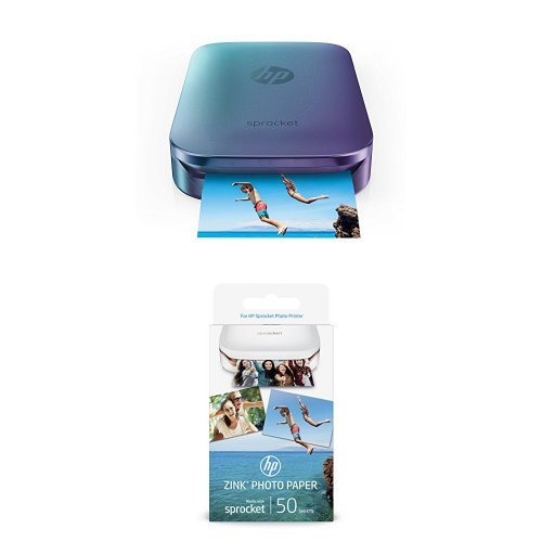 HP Sprocket Portable Photo Printer, Blue and Extra Pack of HP(R) Zink Sticker Photo Paper, 50 sheets