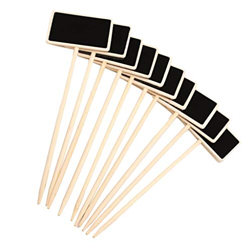 Fenteer 10pcs Wooden Blackboard Chalkboard Plant Stick Price Tags Message Note Board Sticks Chalks (Pots Plant Best Price)