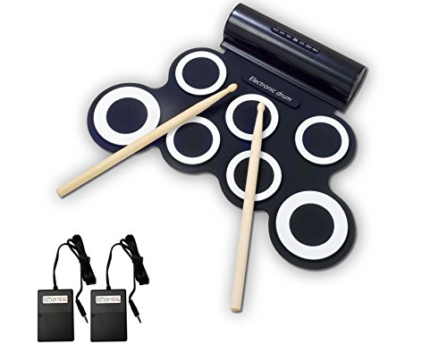 Electronic Drum Sets, Rockpals Roll up Drum Pads with Drum Sticks for Kids Adults Junior Starter (Headphone Jack, Built-in Speakers, Foldable) ()