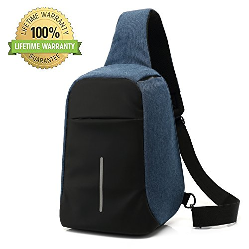 Price comparison product image Anti Theft Sling Bag Chest Bag Shoulder Chest Cross Body Backpack Waterproof Crossbody Travel Shoulder Bag by Valley Hiking (Blue)