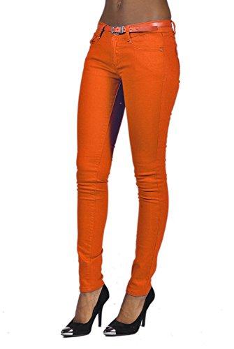 Stretch Denim Belted 5 Pocket Solid Colored Orange Jeans