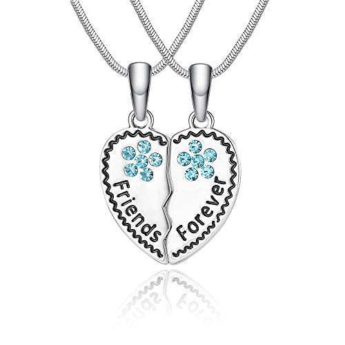 Lanqueen Best Friends Necklace for 2, BFF Teen Girls Gifts Silver Heart  Broken Friendship Necklace Set, Charm Engraved Letters Necklace, 18''