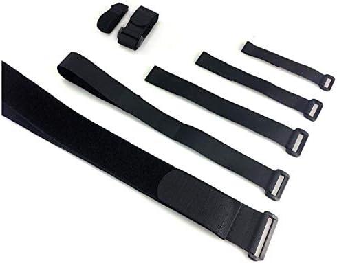 Correas de velcro ajustable de Alfatex®, correas de cierre de velcro para sujetacables y sujetador de organizador, nailon, negro, (2 piezas) 3cmx60cm