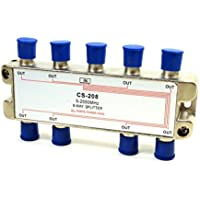 Philmore 2GHZ  High Q 8-Way Low Loss Coaxial Satellite TV Signal Splitter With Weather Caps, Commercial Grade; CS208