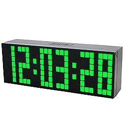 CHkosda Large LED Display Board Digital Snooze Alarm Clock(green LED)