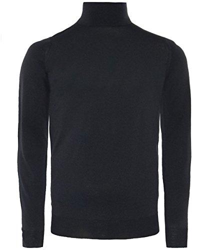 John Smedley Men's Merino Wool Roll Neck Cherwell Jumper XL Black