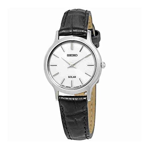 Seiko Solar SUP299 White Dial Black Leather Band Women's Watch