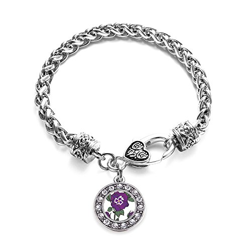 Inspired Silver Pansy Flower Circle Charm Braided Bracelet Silver Plated with Crystal Rhinestones