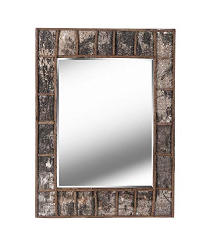 Kenroy Home Rustic Rectangular Wall Mirror, Natural Birch Bark Finish, 38 28-inches, -