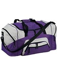 Port & Company Color Block Sport Zipper Duffel Bag_Purple/Grey_One Size