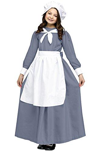 [Pilgrim Girl Costume For Kids, Small] (Colonial Dress For Girls Costumes)